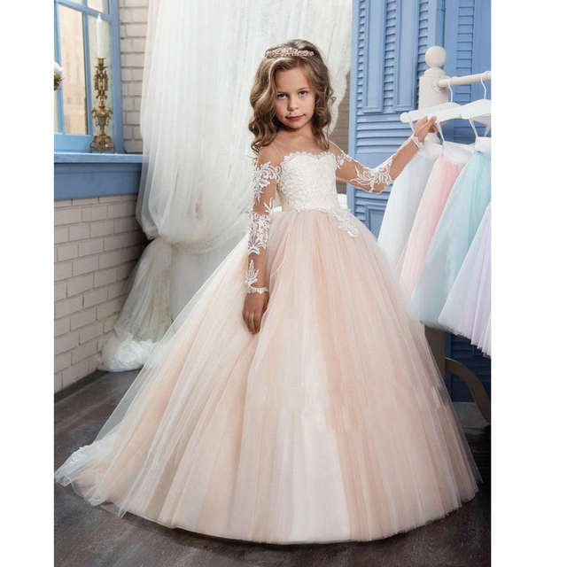 cf3a26b8460 New Style Princess Girl Shoulderless Long Sleeve Sequined Floral Ball Gown  Party Dresses One Piece Daily Dress Girls Clothes P39