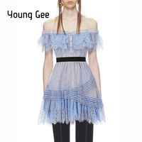 Young Gee Summer Elegant Dress Women Light Blue Off Shoulder Fine Lace Mini Overlay Sexy Strapless Runway Dresses robe femme