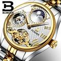 Moon Phase Роскошные Брендовые Часы Автоматические наручные часы Бингер Мужские механические часы бизнес турбийон часы montre homme 2017