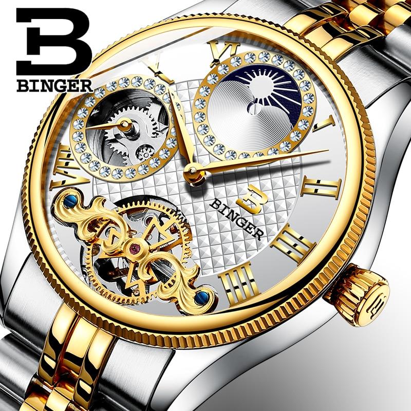Moon Phase Luxury Brand Watches Automatic Wristwatches BINGER Men Mechanical Watch Business Tourbillon Clock  montre homme 2017 moon flac jeans