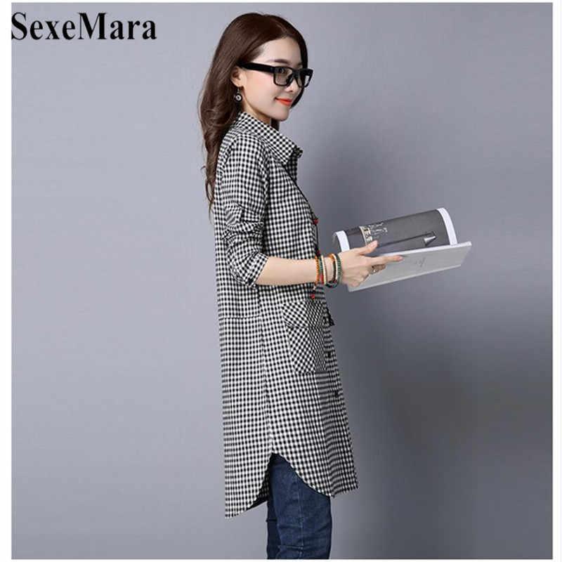 SexeMara Корейская версия большого размера лацканы хлопок и черно-белая клетчатая длинная свободная рубашка женские блузки De Moda 2019