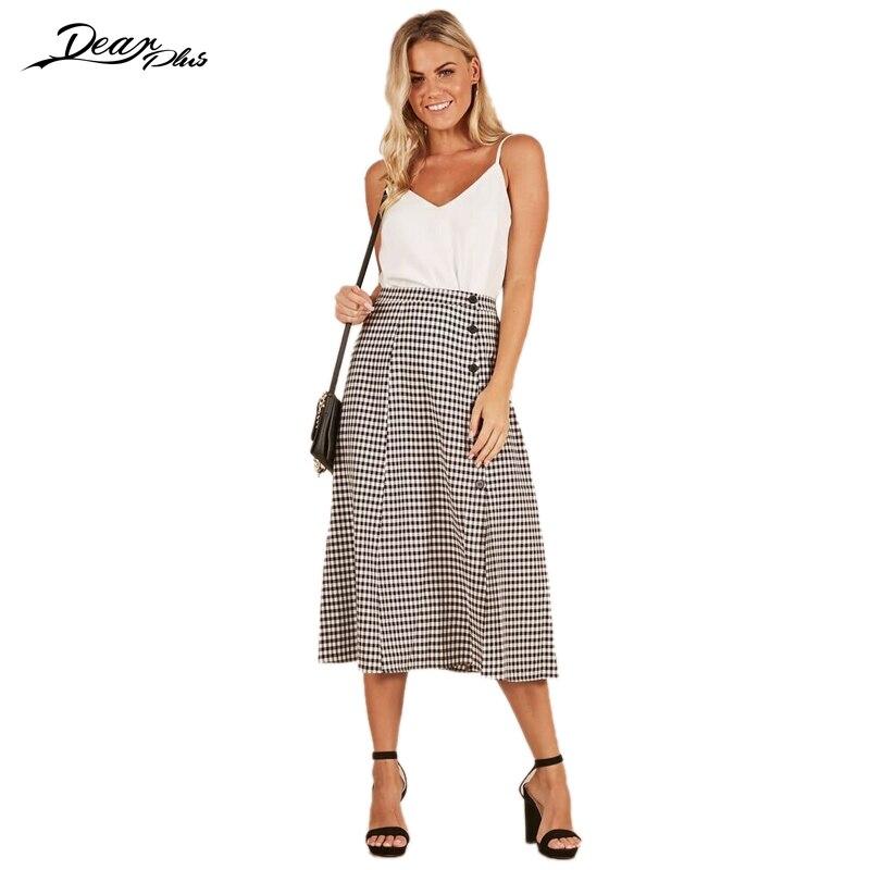 1fc762184b7a98 Vrouwen Elegante Plaid Hoge Taille Midi Rok Mode Knop Slanke Toevallige  Rokken Dames Formele Zakelijke Office