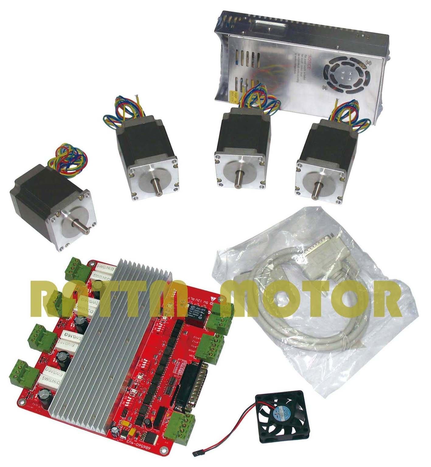 RUS/de L'UE Livraison!! 4 axe CNC carte contrôleur et Nema23 76mm/270 oz-dans/3.0A moteur pas à pas et Puissance fournir