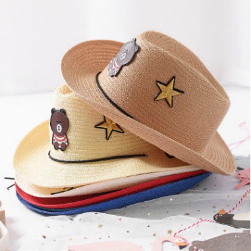 Competent 2019 Fashion Summer Hats For Kids Cartoon Bear Wide Brim Sun Hat Girls Straw Hats Children Vacation Beach Sun Hat Cap Panama