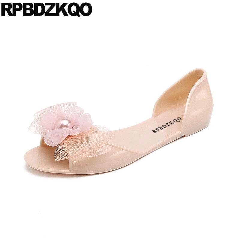 rubber kawaii bow women sandals flat summer 2019 cheap embellished shoes cute jelly pearl soft pink beach slip on black pvcLow Heels   -
