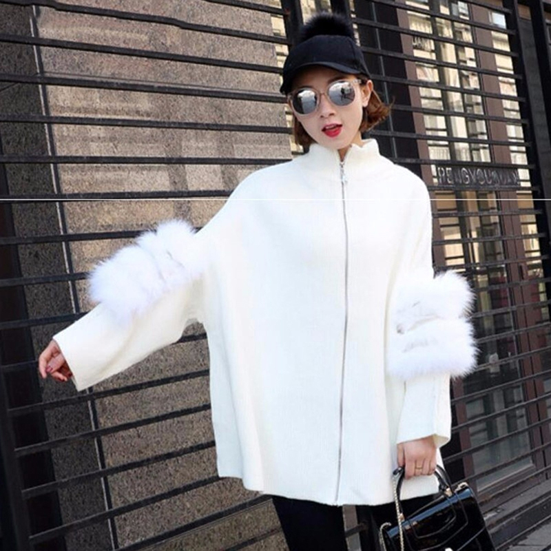 New Sweater Cardigans Women Patchwork Fur Sleeve Thicken Winter Coverup Tops Double Use Coat Jacket