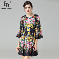 High Quality New 2017 Fashion Runway Designer Summer Dress Brand Women S Flare Sleeve Vintage Casual