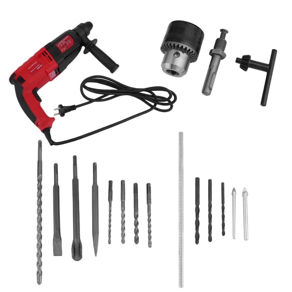 цена на 1050W High Power Impact Professional Electric Drill Wall Wood Metal Hammer Drill Set Power Car Tools Accessories