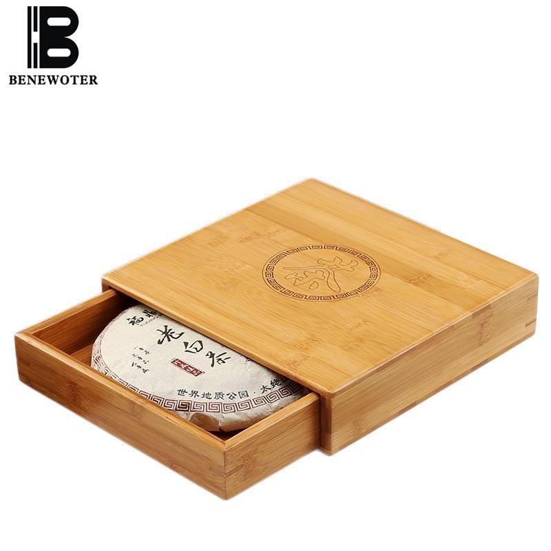 Naturel Bambou Boîtes De Rangement Pu'er Thé Gâteau boîte scellée organisateur de tiroir Thé Caddy Kung Fu service à thé Accessoires récipient pour aliments Nouveau
