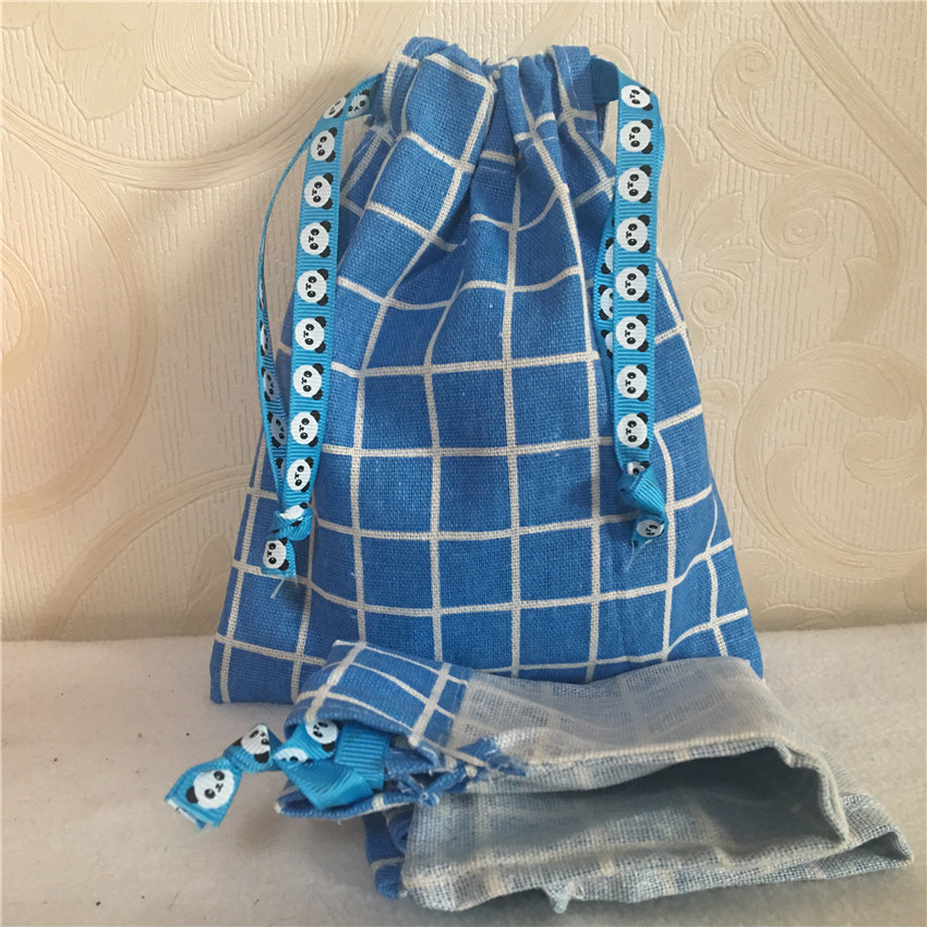 YILE 1pc Blue Check Plaids Cotton Linen Drawstring Multi- Purpose Organizer Bag Party Gift Bag N8223 E