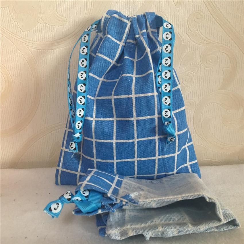 YILE 1pc Blue Check Plaids Cotton Linen Drawstring Multi- Purpose Organizer Bag Party Gift Bag N8223 E