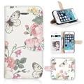 Чехол BTD P018-5G, винтажный цветы бабочка белый принт бумажник чехол для Apple iphone 5S 5 G экран плёнка