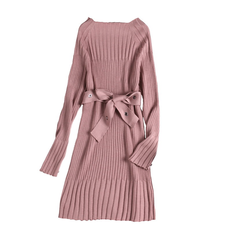 Manches taille rose Longues Vert Tie Cou Pur apricot Slash Couleur À Robe UWPIx
