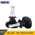 Partol S1 50W H4 Hi-Lo Beam H7 CSP LED Car Headlight Bulbs CREE Chips 8000LM 6500K Auto LED Headlights Driving Light For 12V