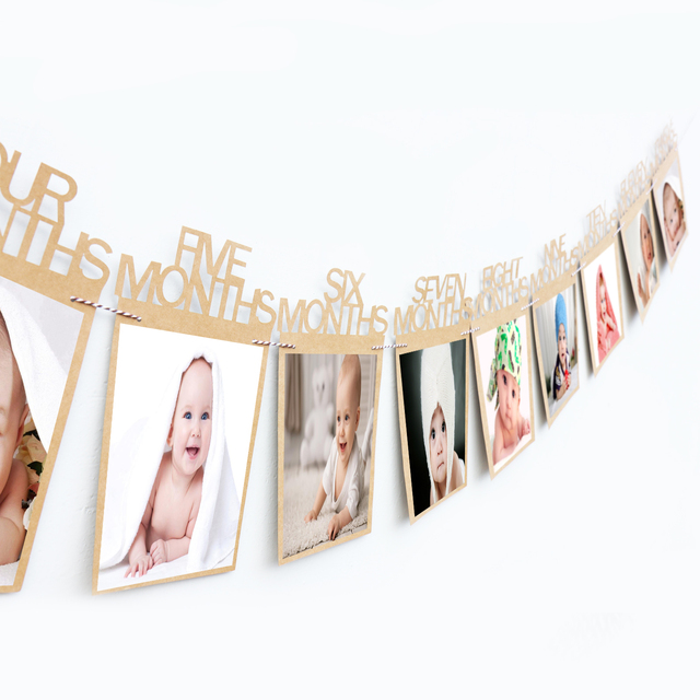 1 12 Month Baby Photo Frame Hanging Photo Banner Monthly Photo Wall