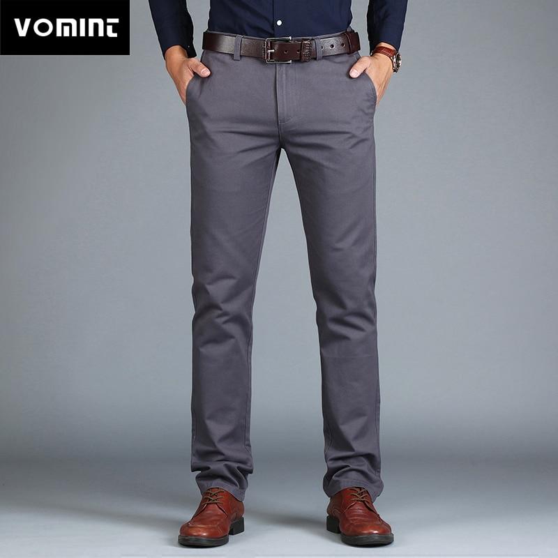HTB1QOBuKk9WBuNjSspeq6yz5VXau VOMINT Mens Pants High Quality Cotton Casual Pants Stretch male trousers man long Straight 4 color Plus size pant suit 42 44 46