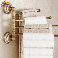 Free Shipping Antique Brass Wall Mounted Bathroom Towel Bars With Blue And White Porcelain