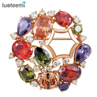 Newest Arrival 18k Rose Gold Plated My Mona Lisa Wedding Brooch For Women Multicolor Zircon