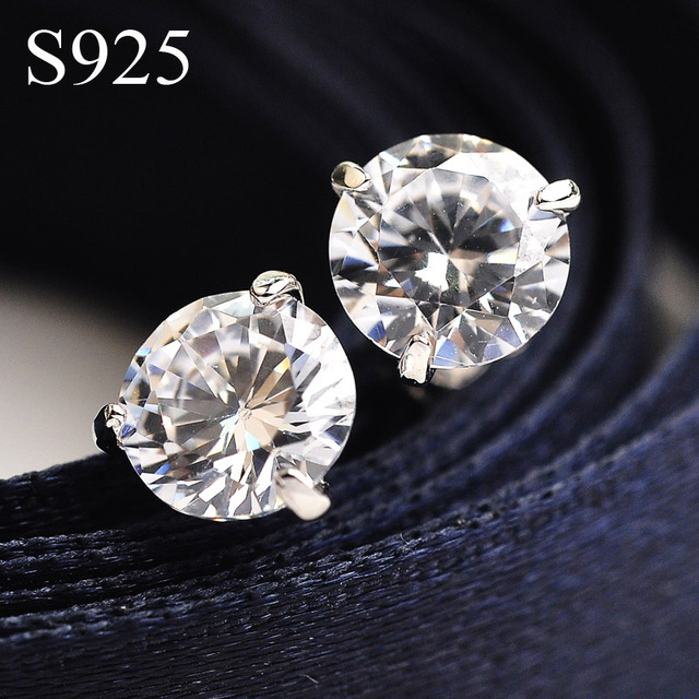 CZ Diamond Jewelry 925 Sterling Silver stud earrings for women wedding earrings of Austria Crystals brincos Bijoux Top quality