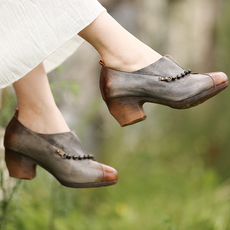 038 La Confort Slip sur Véritable Pompes Hauts Rétro Perle 801a Cuir Femmes À Tayunxing En Main Talons Décontracté Srting Chaussures CwBwqgUo