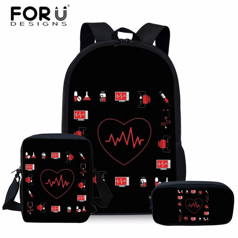 FORUDESIGN Nurse Heart Printing School Bags For Kids 3pc/set Primary Schoolbag Children Shoulder Bagpack Teenagers Large Satchel