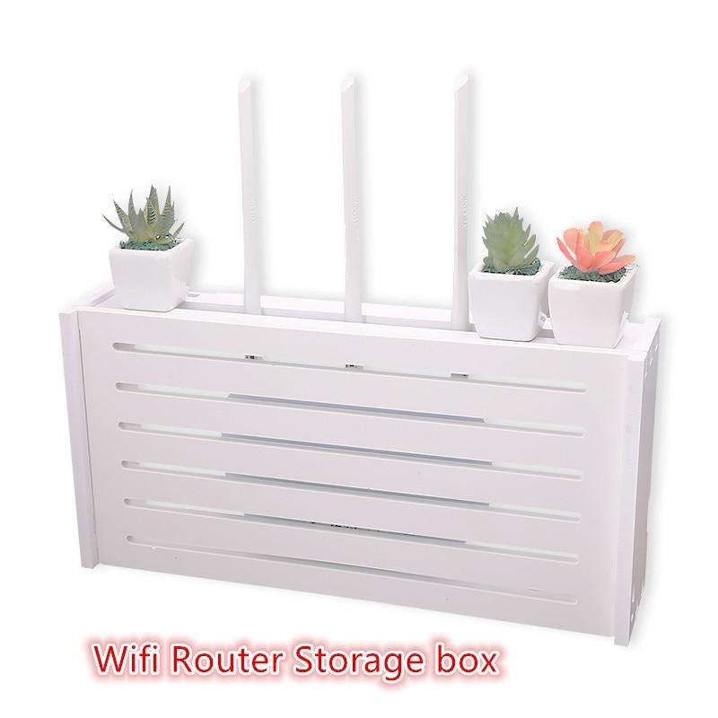 Wooden Wireless Wifi Router Storage box Wall Hangings Storage Rack Power Strip Power Wire Hidden finishing Storage organizer