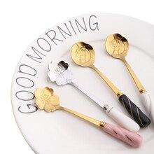 1 шт. ложки с цветами из нержавеющей стали керамическая ручка кофейная/чайная ложка десерт, мороженое ложки для торта горячая распродажа