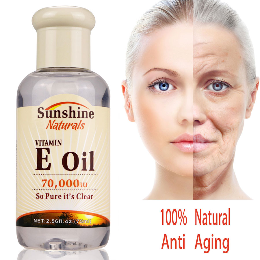 Sunshine Naturals Vitamin E Oil 70000iu Liquid 2.5 Oz Anti Aging and Whitening Anti Wrinkle Serum Vitamin E Essence TSLM1