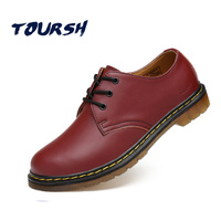 TOURSH Unisex Flats British Style Oxford Shoes Women Red Lace Up Platform Ankle Female Casual Shoes