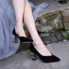 Artmu Original Black Sheep-pucker Leather Pointed Toe Thick Heels High Women Shoes New Handmade Womens for Work