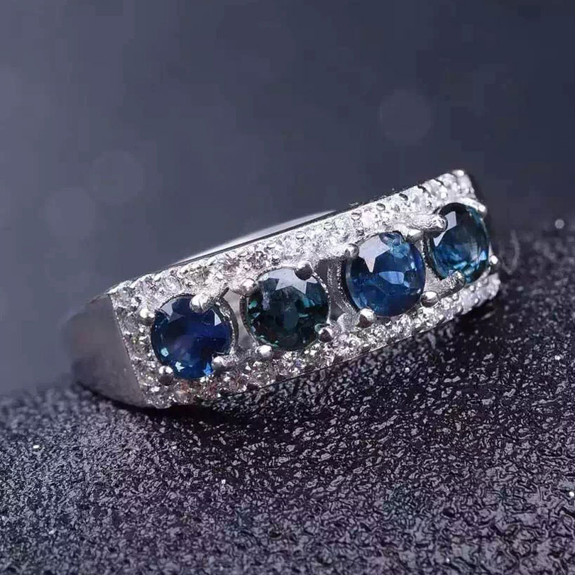 Women Natural Sapphire Stone Ring Genuine Solid Silver Gems Jewelry Rings Birthstone