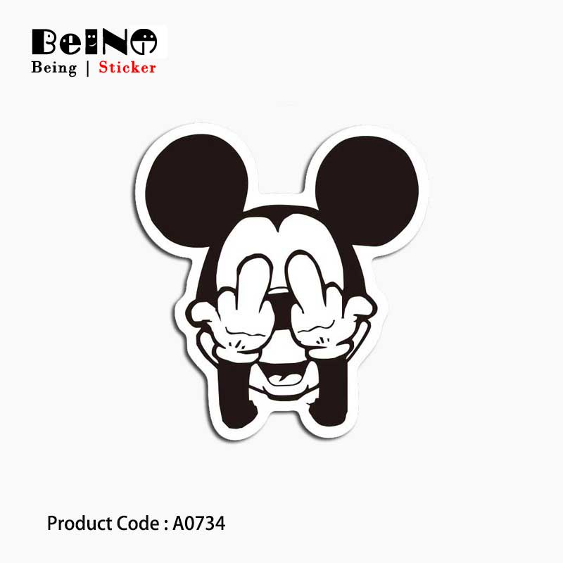 Mickey Mouse Shy Cartoon Sticker Anime Fun Waterproof Suitcase Laptop Guitar Luggage Skateboard Toy Lovely A0734 Stickers QY31 Стикер