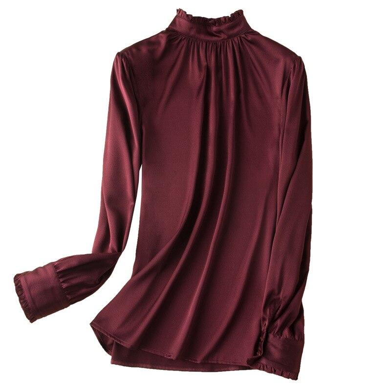 Women Nature Silk Elastic Satin Shirts 2019 Spring New Long Sleeves T shirt Elegant OL Silk