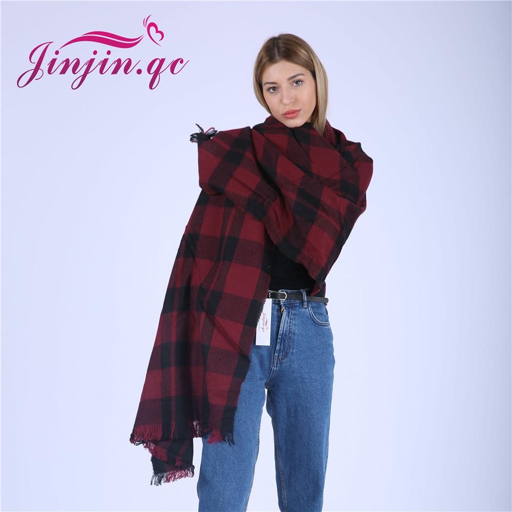 Jinjin.QC women scarf plaid scarves and shawls red wine cashmere pashmina acrylic capes echarpe foulard femme hijab bandana