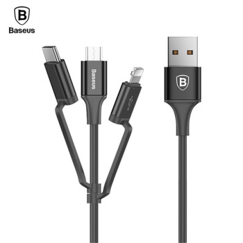 Baseus 3in1 Micro USB Type C Charge Cable For Samsung Galaxy S9 Adapter Cable For iPhone Fast Charging USB Data Cable