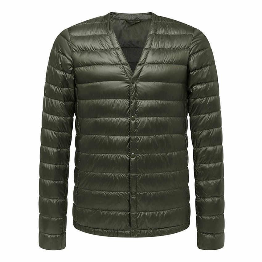 Новинка 2017 года, осенне-зимнее мужское пуховое пальто, тонкая Ультра легкая парка с белым утиным пухом, Мужская тонкая короткая верхняя одежда с v-образным воротником, топы AB644