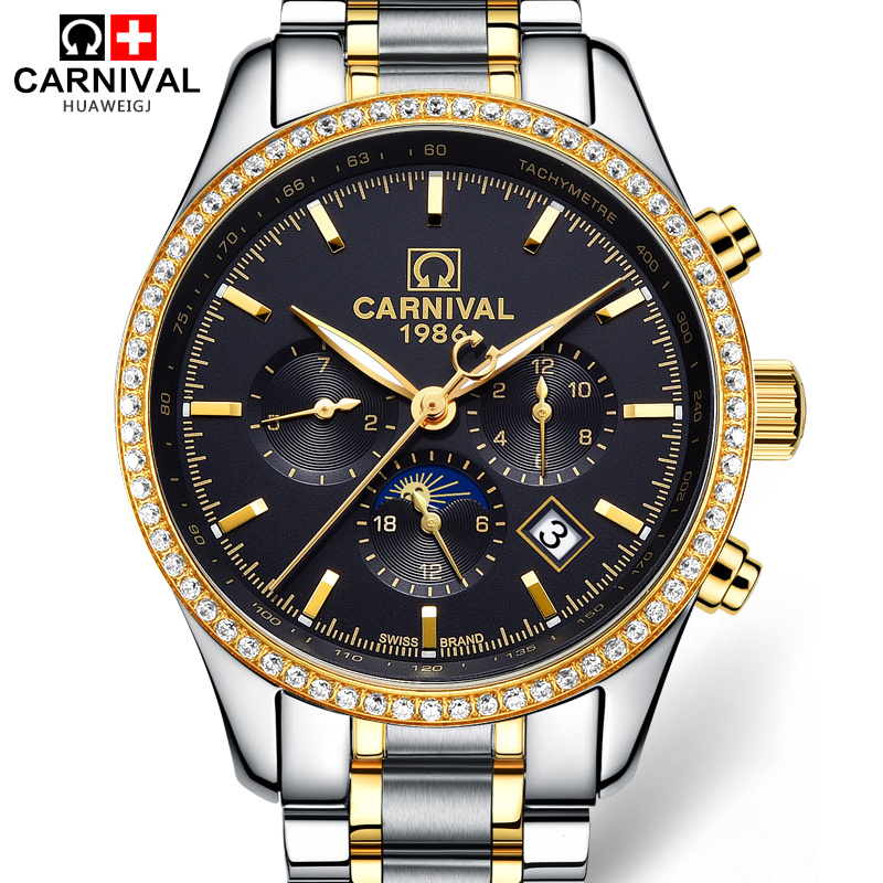 Carnival Luxury Diamond Automatic Mechanical Wristwatches Mens Gold Stainless Steel Waterproof Men Watches Dress Clock hodinky