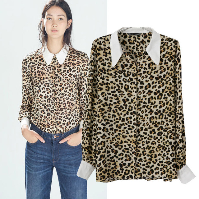 80c5df0431a6 2014 Hitz European style ZARA leopard print long-sleeved cotton shirt hit  the color shirt 7733/557