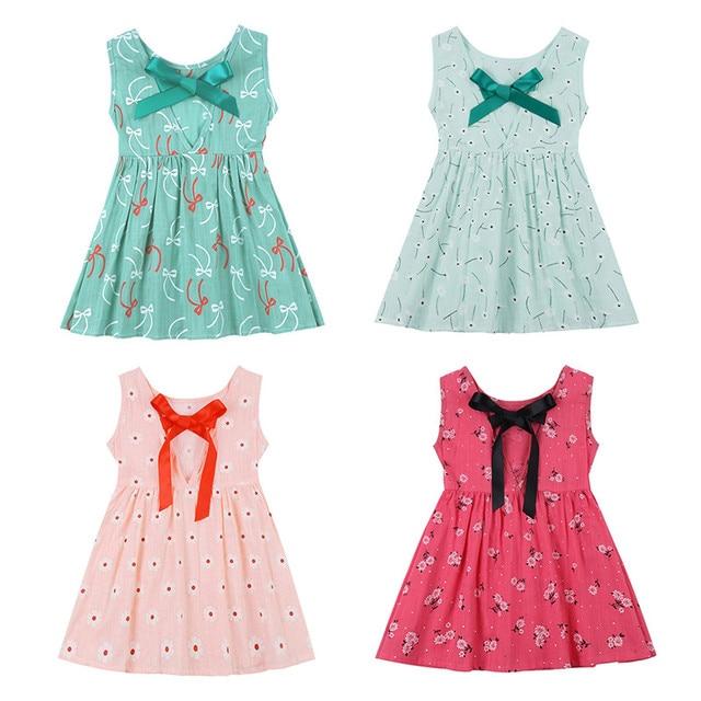dba7e7aaa 2018 Hot Sale New Girls Dress Girl Summer Dress Kids Sleeveless Printing  Pattern Cotton Vestidos Children Clothes Drop shipping