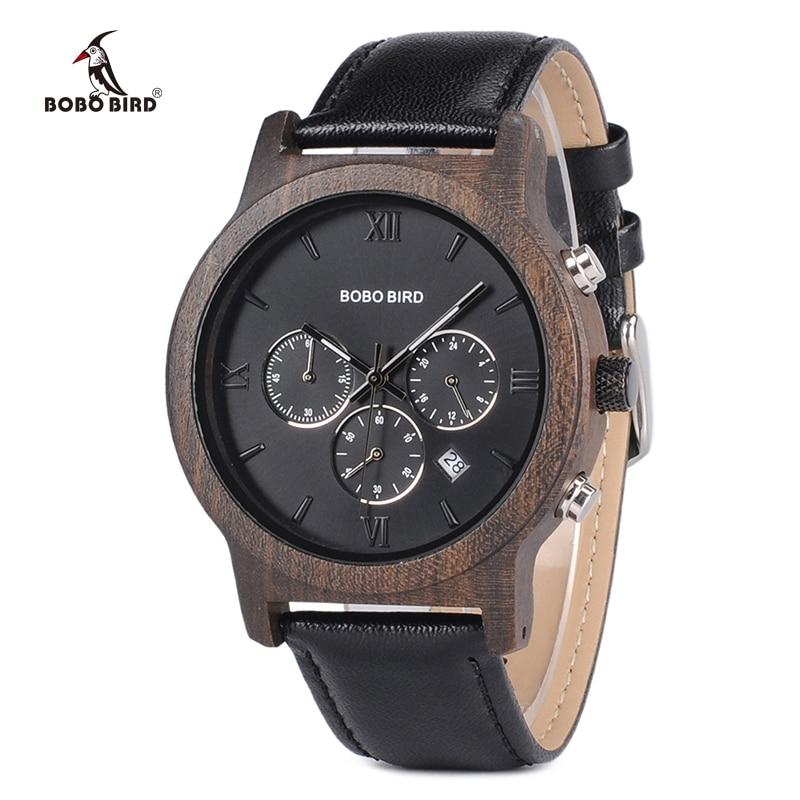 Мужские часы BOBO BIRD, мужские часы, роскошные деловые деревянные наручные часы с автоматической датой, секундомером, V-P28 kol saati
