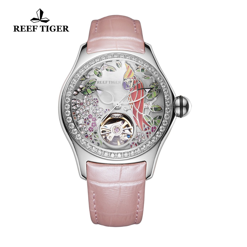 Reef Tiger 2018 Diamonds Fashion Watches Women Steel Genuine Leather Strap Automatic Analog Watches Waterproof RGA7105 все цены