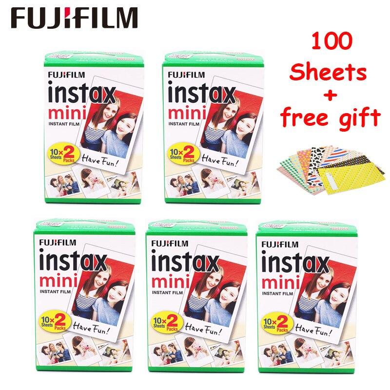100 Feuilles Fujifilm Instax Mini 9 8 Film Blanc Bord Papiers Photo Pour Fuji Mini 8 7 s 70 90 25 55 partager SP-1 SP-2 Appareil Photo Instantané