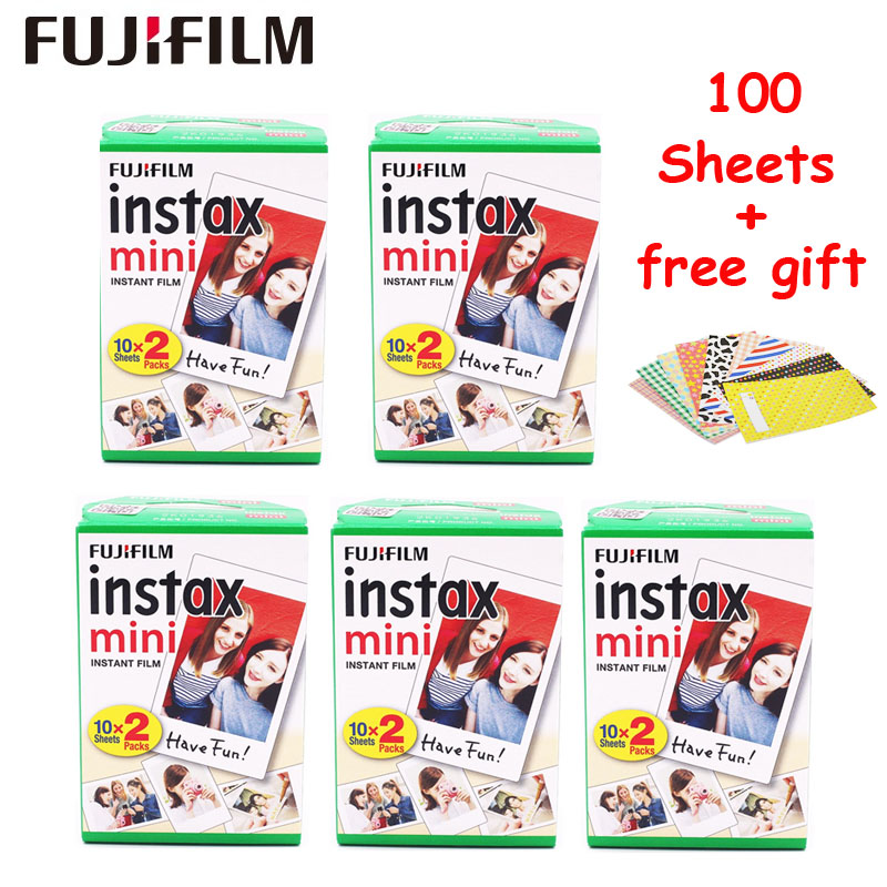 цена на 100 Sheets Fujifilm Instax Mini 9 8 Film White Edge Photo Papers For Fuji Mini 8 7s 70 90 25 55 Share SP-1 SP-2 Instant Camera