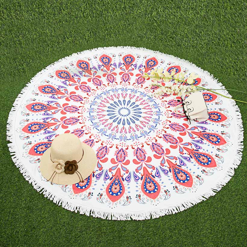 whq 600 г круглый пляжное полотенца 150 см геометрический пончики печатных микрофибры душ полотенца круг в богемном стиле полотенца душевые шаль коврики толстые