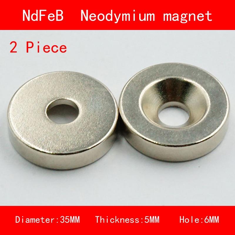 2PCS diameter 35mm thickness 5mm hole 6mm n35 Rare Earth strong Permanent NdFeB Neodymium Magnet earth 2 vol 6