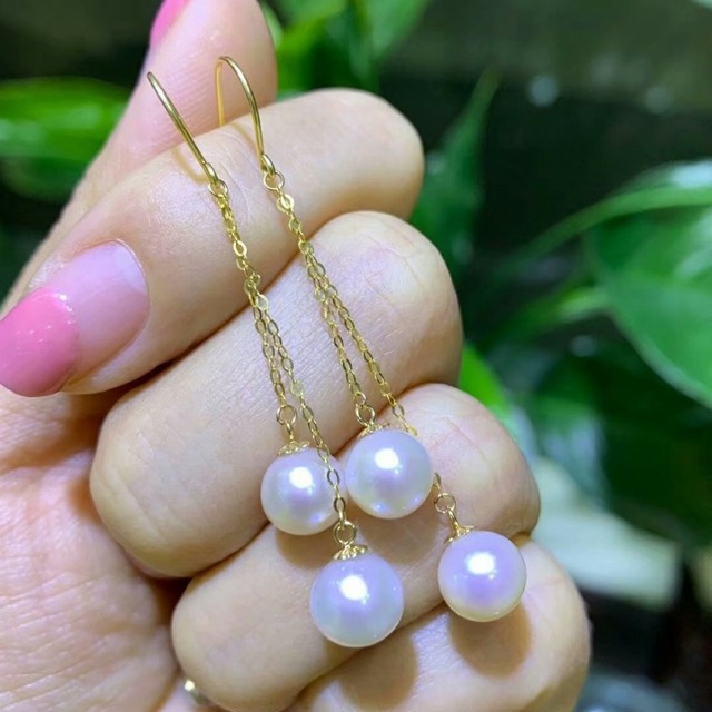 shilovem 18k yellow gold Natural freshwater pearls Drop Earrings fine Jewelry women trendy anniversary  gift myme7-7.5z 3
