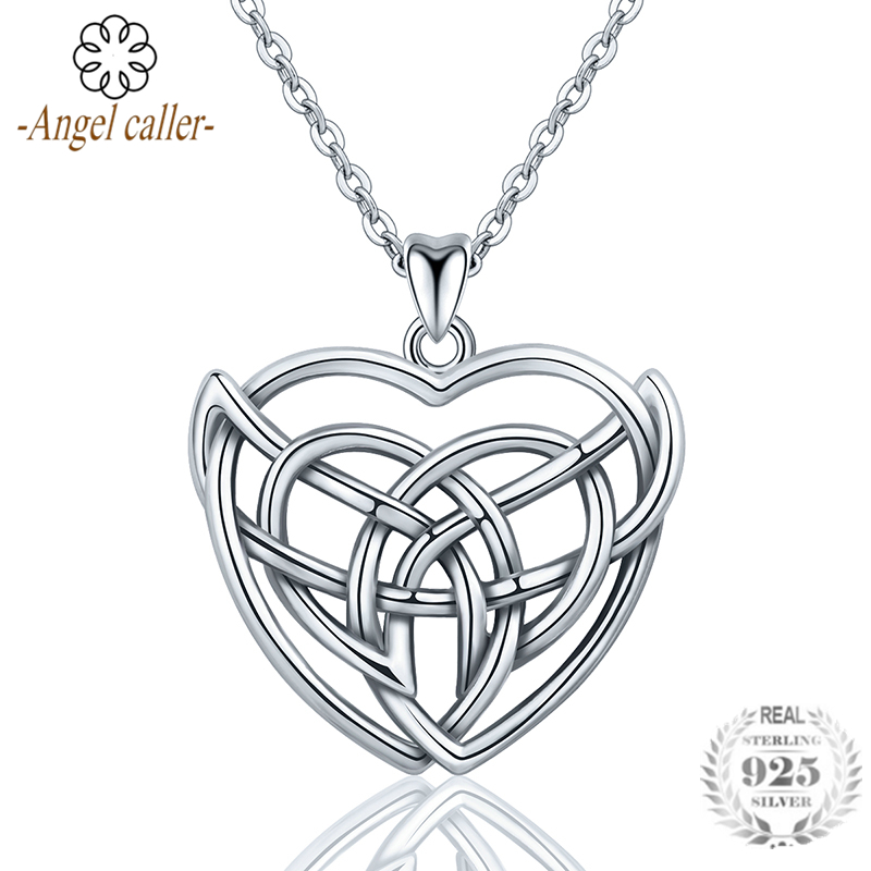Angel Caller Genuine 925 Sterling Silver Celtics Heart Knot Pendant Necklace Fine Jewelry for Women Girl Anniversary Gift CYD214Angel Caller Genuine 925 Sterling Silver Celtics Heart Knot Pendant Necklace Fine Jewelry for Women Girl Anniversary Gift CYD214