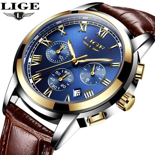 c9441a43710b Gold LIGE Mens Watches Top Brand Luxury Fashion Casual Quartz Watch Men  Military Sport Waterproof Wristwatch