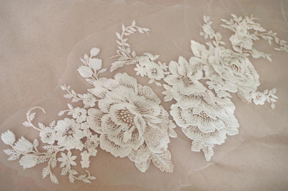 Pcs ivory lace applique bridal wedding dress lace rose lace
