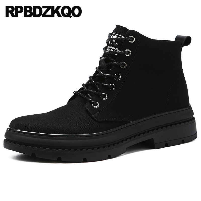Ankle Boots High Sole Military Canvas Shoes Top Platform Booties Fur Lined Army Flat Men Thick Soled Combat Winter Faux BlackAnkle Boots High Sole Military Canvas Shoes Top Platform Booties Fur Lined Army Flat Men Thick Soled Combat Winter Faux Black